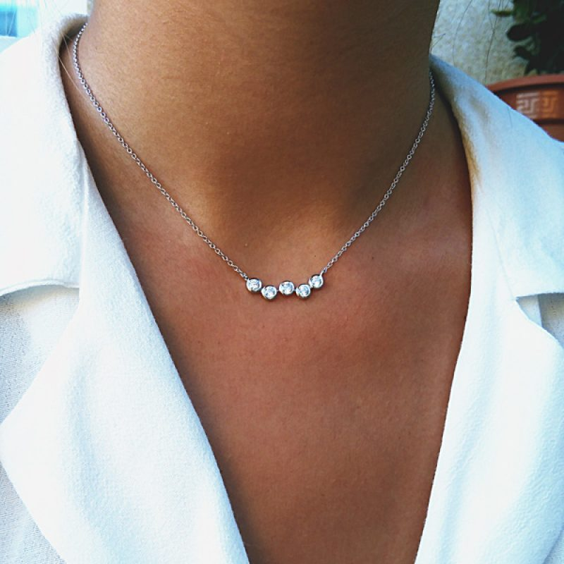 collar brillantes plata
