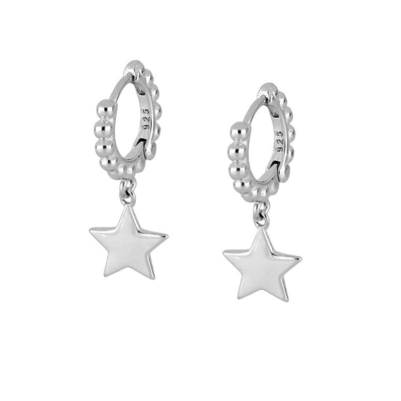 aros estrella colgante plata