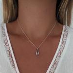 collar concha de mar plateada plata